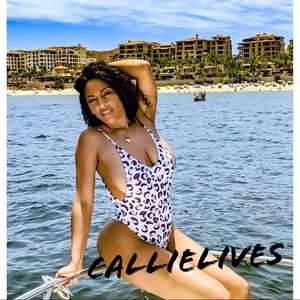 Miz High Cut White Leopard Plunging Thong Swimsuit